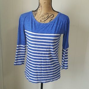 J Crew Boat Neck Striped Tee Shirt Top 3/4 Sleeve
